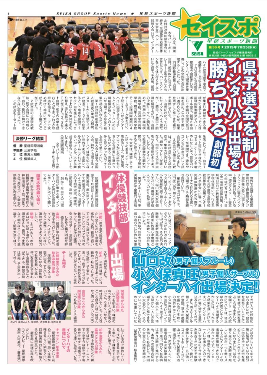 星槎スポーツ新聞 第36号(20190725)